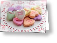 True Love Valentine Candy Hearts Greeting Card