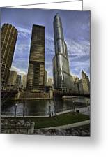 Trump Tower And River Front Greeting Card