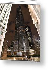 Trump Tower Chicago At Night Greeting Card