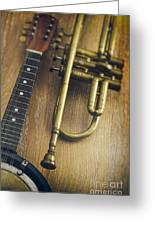 Trumpet And Banjo Greeting Card