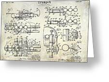 Trumpet Patent Drawing Greeting Card