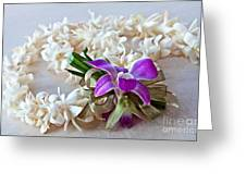 Tuberose Lei With Purple Orchid And Ribbon Greeting Card
