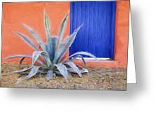 Tucson Barrio Blue Door Painterly Effect Greeting Card