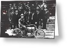 Tucson Police Department  On Steps Of City Hall With 1st Police Motorcycle C. 1917 Tucson Arizona Greeting Card