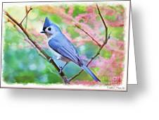 Tufted Titmouse With Spring Booms - Digital Paint II Greeting Card
