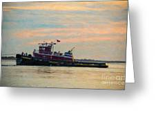 Tug Boat Hard At Work Greeting Card