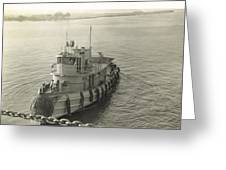 Tug Boat In Puerto Rico 1956 Greeting Card