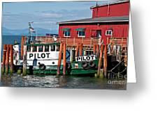 Tug Boat Pilot Docked On Waterfront Art Prints Greeting Card