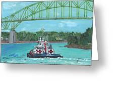 Tug Sabine Under Bourne Bridge Greeting Card