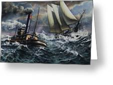 Tugboat And Lumber Schooner In Storm Greeting Card