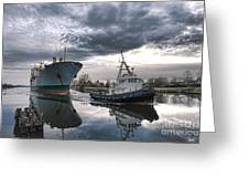 Tugboat Pulling A Cargo Ship Greeting Card