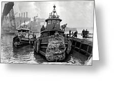 Tugboat Winter  1946 Greeting Card