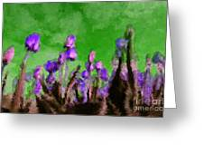 Tulips Abound Green Purple Greeting Card