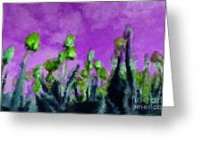 Tulips Abound Purple Teal Greeting Card