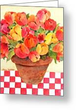 Tulips And Checks Greeting Card