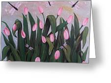 Tulips And Dragonflies In Misty Morning Greeting Card