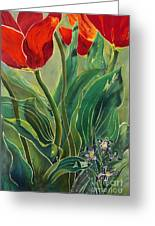 Tulips And Pushkinia Greeting Card by Anna Lisa Yoder