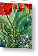 Tulips And Pushkinia Detail Greeting Card by Anna Lisa Yoder