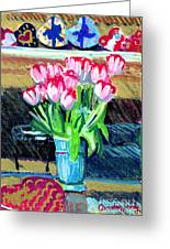 Tulips And Valentines Greeting Card