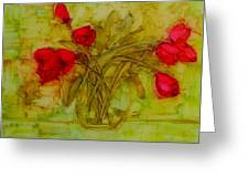 Tulips In A Glass Vase Greeting Card
