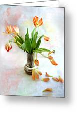 Tulips In An Old Silver Pitcher Greeting Card