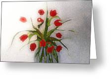 Tulips In Glass Vase Greeting Card