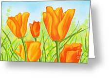 Tulips In Grass Greeting Card