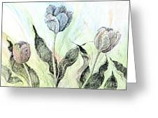 Tulips In Ink Greeting Card