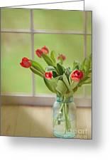 Tulips In Mason Jar Greeting Card