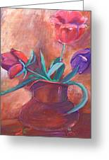 Tulips In Pitcher Greeting Card