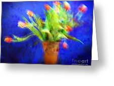 Tulips In The Blue Greeting Card