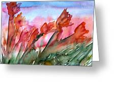 Tulips In The Wind Greeting Card