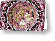 Tulips Kaleidoscope Under Polyhedron Glass Greeting Card