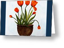 Tulips On A Blue Buffet With Borders Greeting Card by Barbara Griffin
