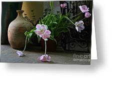 Tulips With Earthenware Jar And Wrought Iron Greeting Card