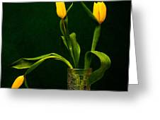 Tulips - Yellow On Green Greeting Card