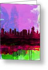 Tulsa Watercolor Skyline 2 Greeting Card
