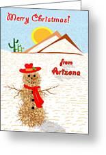 Arizona Tumbleweed Snowman Greeting Card