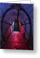 Tunnel And Stairs Bathed In Blue And Red Light Greeting Card