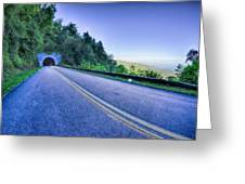 Tunnel Through Mountains On Blue Ridge Parkway In The Morning Greeting Card
