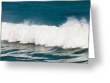 Turbulent Water Of Breaking Ocean Wave And Spray Greeting Card