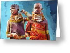 Young Turkana Girls Greeting Card