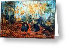 Turkey Dance On The Pond Road Greeting Card