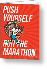 Turkey Run Marathon Runner Poster Greeting Card