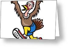 Turkey Run Runner Cartoon Isolated Greeting Card by Aloysius Patrimonio