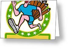 Turkey Run Runner Side Cartoon Greeting Card by Aloysius Patrimonio
