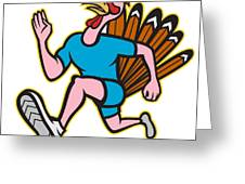 Turkey Run Runner Side Cartoon Isolated Greeting Card by Aloysius Patrimonio