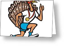 Turkey Run Runner Thumb Up Cartoon Greeting Card by Aloysius Patrimonio