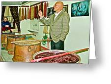 Turkish Rug Salesman Explains About Natural Dye Vats In Weaving Factory In Avanos-turkey  Greeting Card