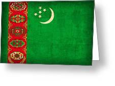 Turkmenistan Flag Vintage Distressed Finish Greeting Card